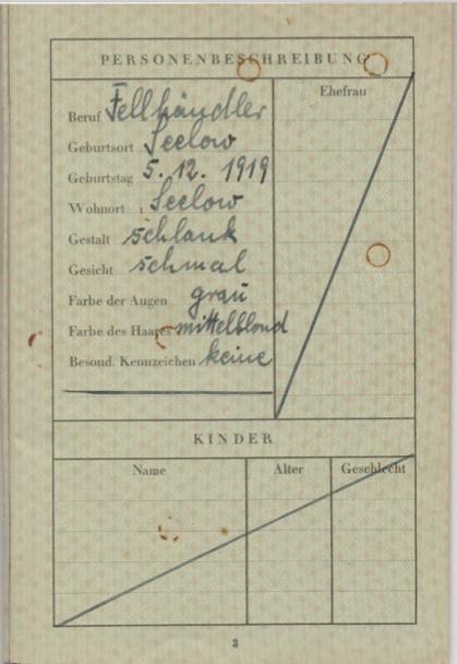 Kitchener camp, Willi Reissner, passport, page 3, 1939