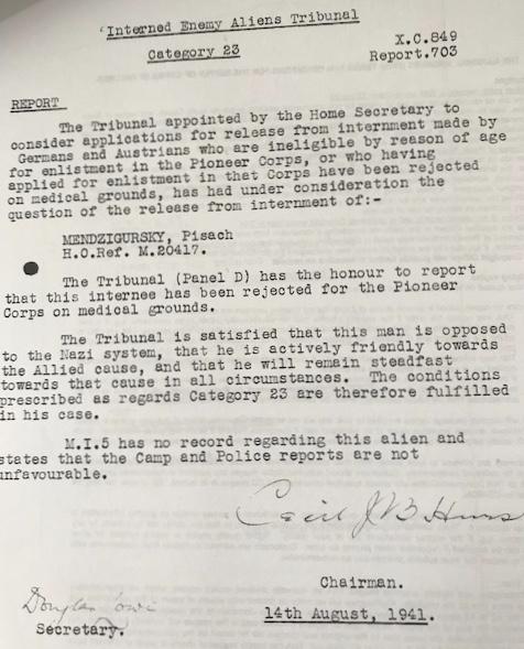 Peisech Mendzigursky, enemy alien tribunal, August 1941
