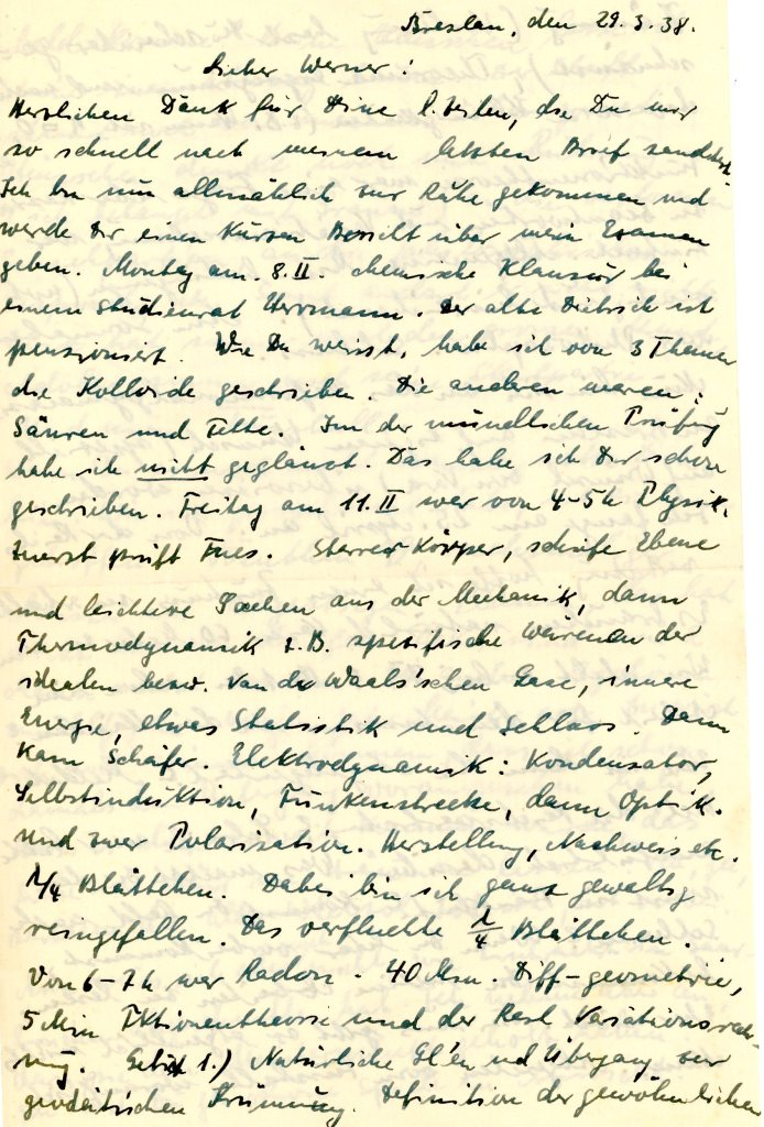 Letter to Werner Weissenberg, from Max Kaiser, 29 March 1938