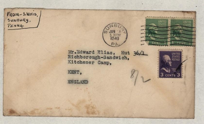 Kitchener camp, Eduard Elias, Hut 36/I, Envelope from USA, 13 January 1940