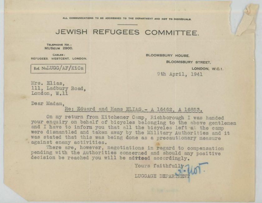Eduard Elias, Hans Elias, Jewish Refugees Committee, Letter, 9 April 1941, bicycles, compensation