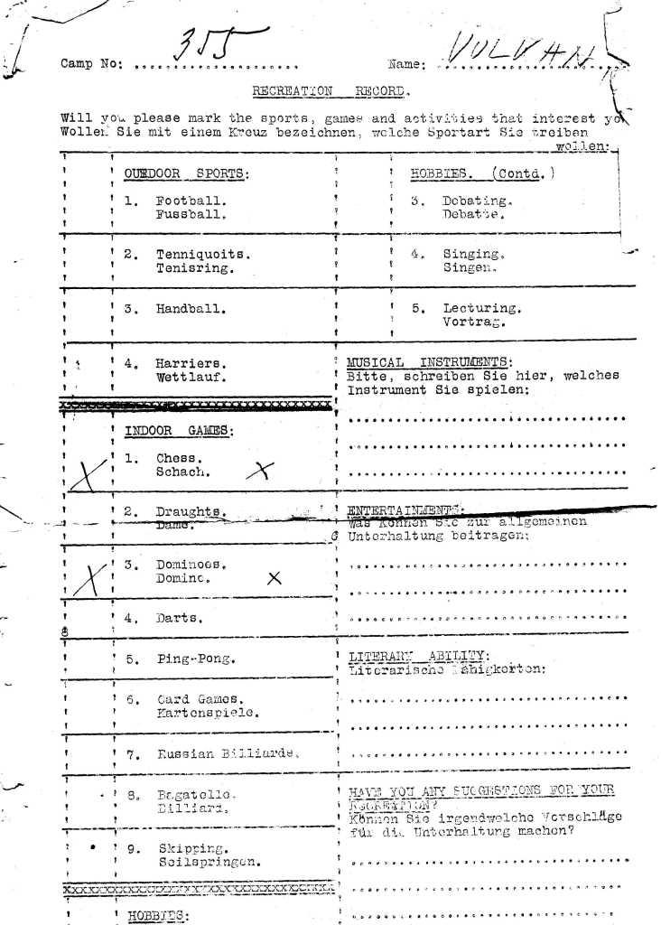 Kitchener camp, Ferdinand Vulkan, Recreation record