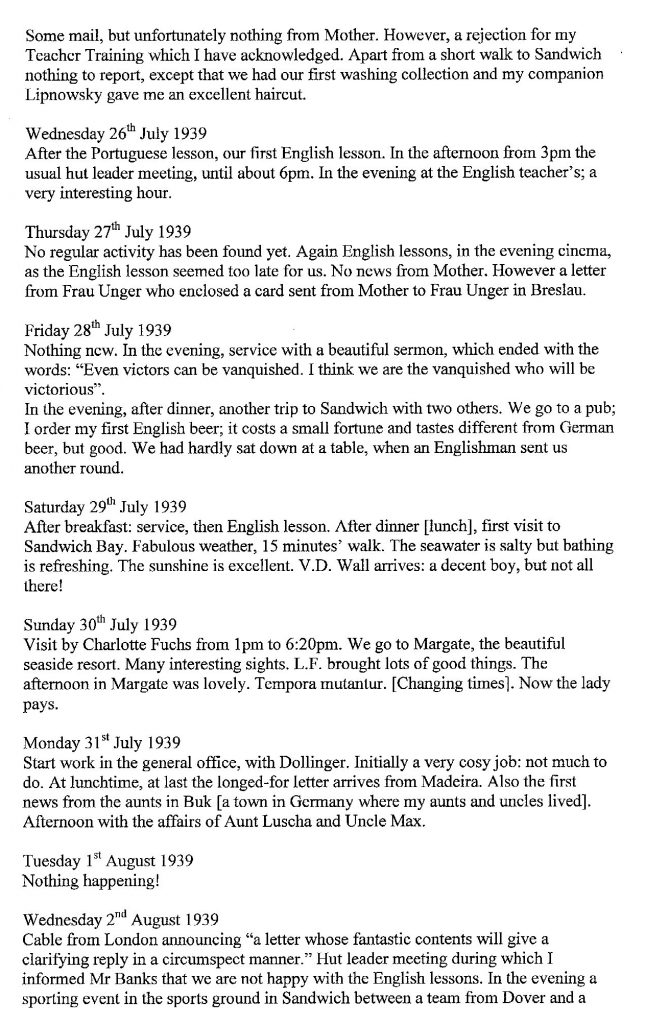 Lothar Nelken, Kitchener Camp diary, 1939 to 1940, page 4, 25 July to 2 August 1939