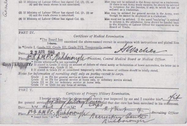 Max Heinz Nathan - Enlistment form, Part II (bottom half)