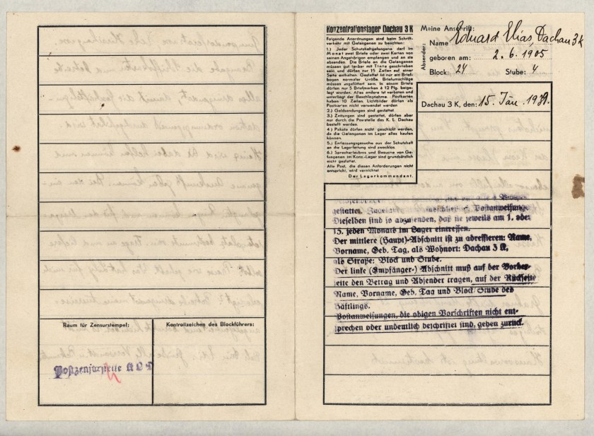 Eduard Elias, Dachau letter, 15 January 1939_001