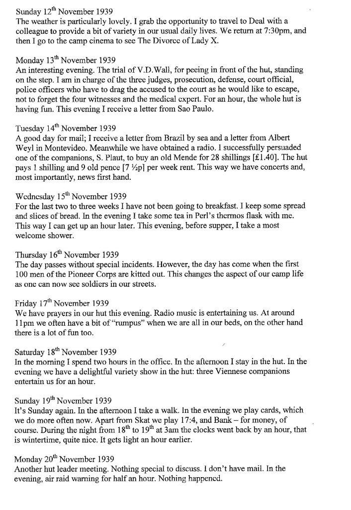 Lothar Nelken, Kitchener Camp diary, 1939 to 1940, page 15, 12 November to 20 November 1939