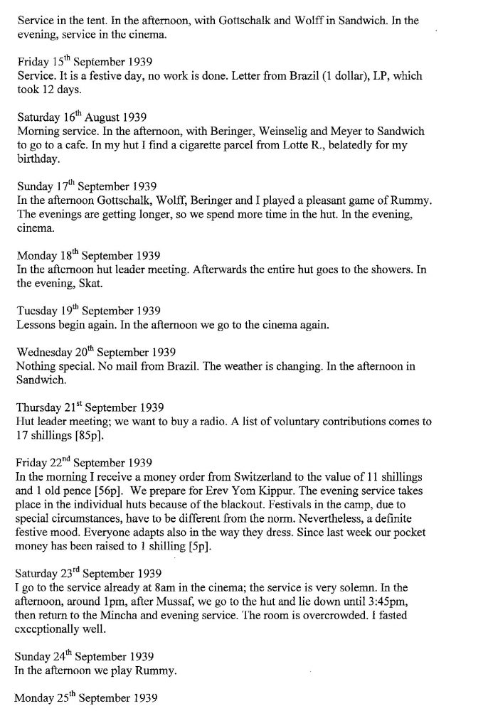 Lothar Nelken, Richborough Camp diary, 1939 to 1940, page 9, 15 September to 25 September 1939
