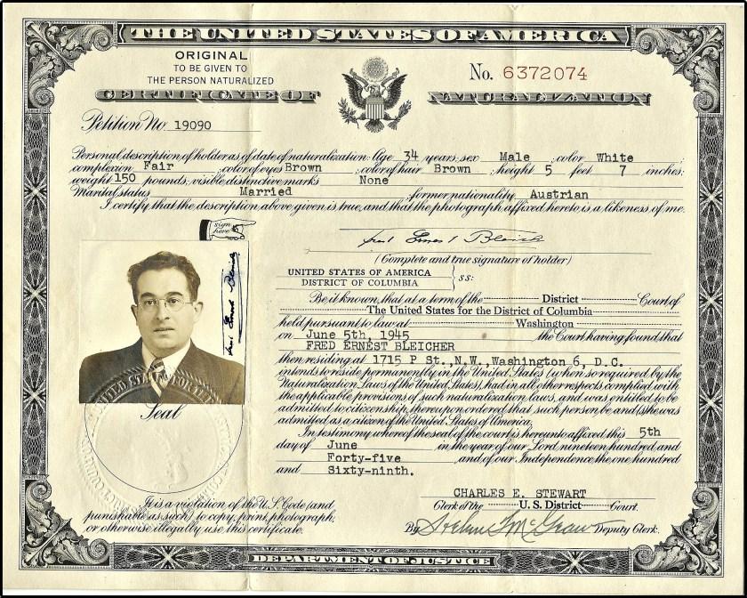 Fritz Bleicher, US Naturalization, 5th June 1945