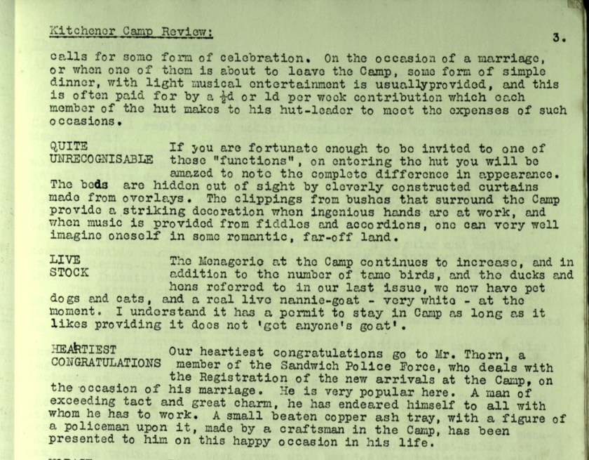 Kitchener Camp Review, no. 7, September 1939, page 3, top