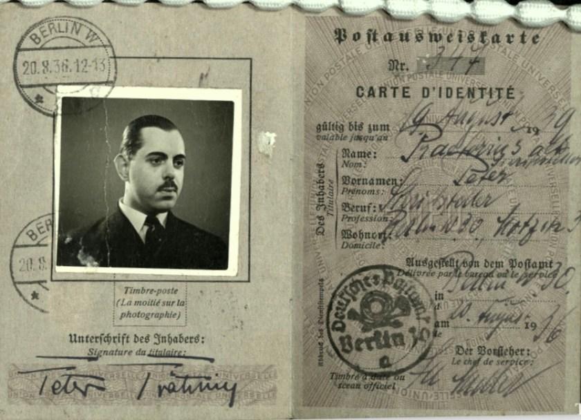 Kitchener camp, Wolfgang Priester, Deutßche Reichspoßt, Carte D'Identitié, photograph, 20 August 1936