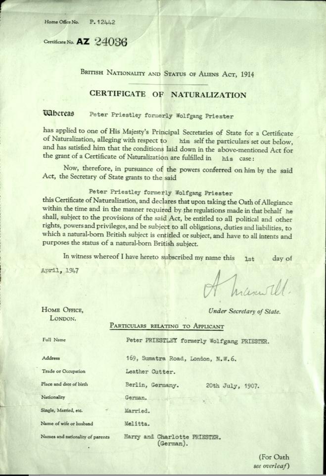 Kitchener camp, Wolfgang Priester,Peter Priestley, Certificate of Naturalization, 1 April 1947