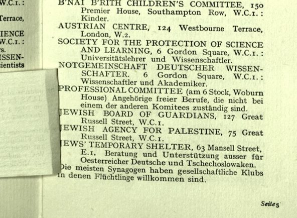 Richborough camp, Wolfgang Priester, German Jewish Aid Committee, Bloomsbury House, Jewish Board of Deputies, Woburn House, Guidance to all Refugees, page 5 under flap