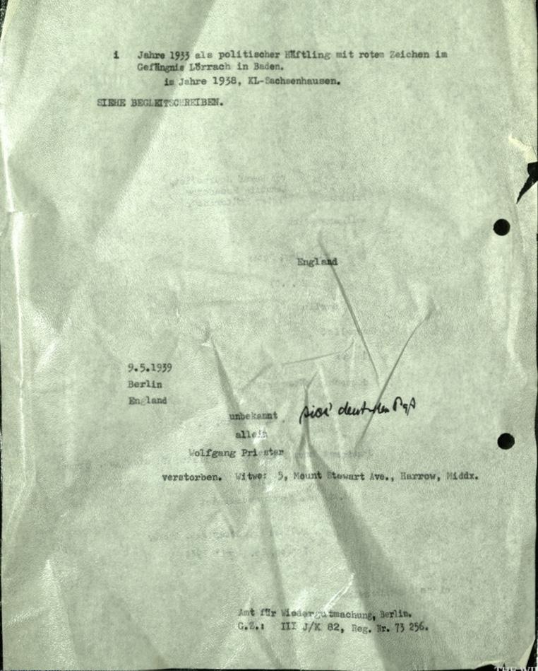 Wolfgang Priester, Peter Priestley, Berlin, Journalist, Document, KL Sachsenhausen 1938