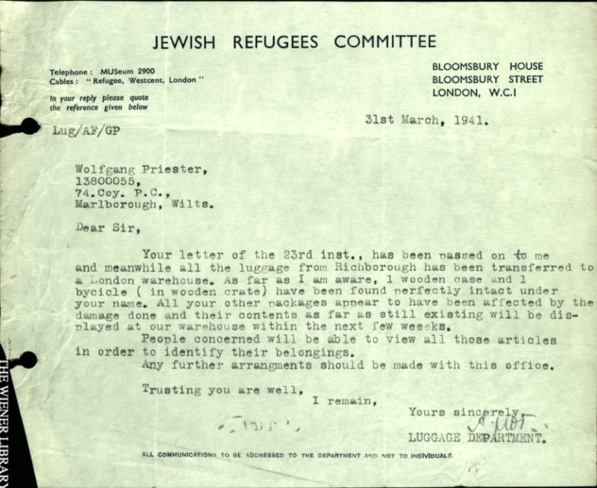 Kitchener camp, Wolfgang Priester, Jewish Refugees Committee, Letter, 31 March 1941, Richborough luggge, bicycle, damaged and missing