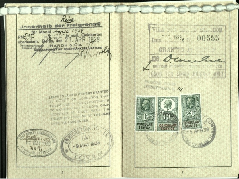 Wolfgang Priester, Reisepass, Deutsches Reich, Document, German passport, Leave to land in Dover, Arrival 9 May 1939, Visa stamp