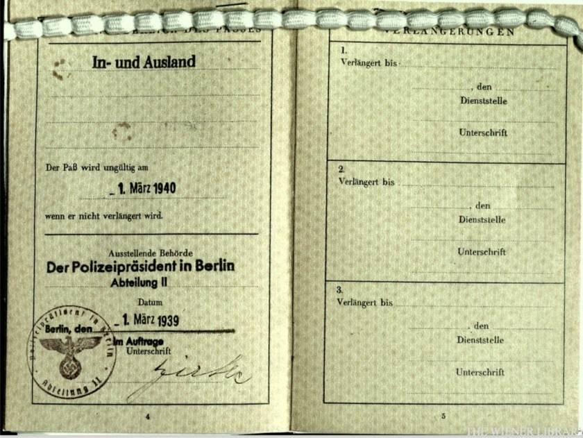 Wolfgang Priester, Reisepass, Deutsches Reich, Document, German passport, Berlin stamp, pages 4 and 5