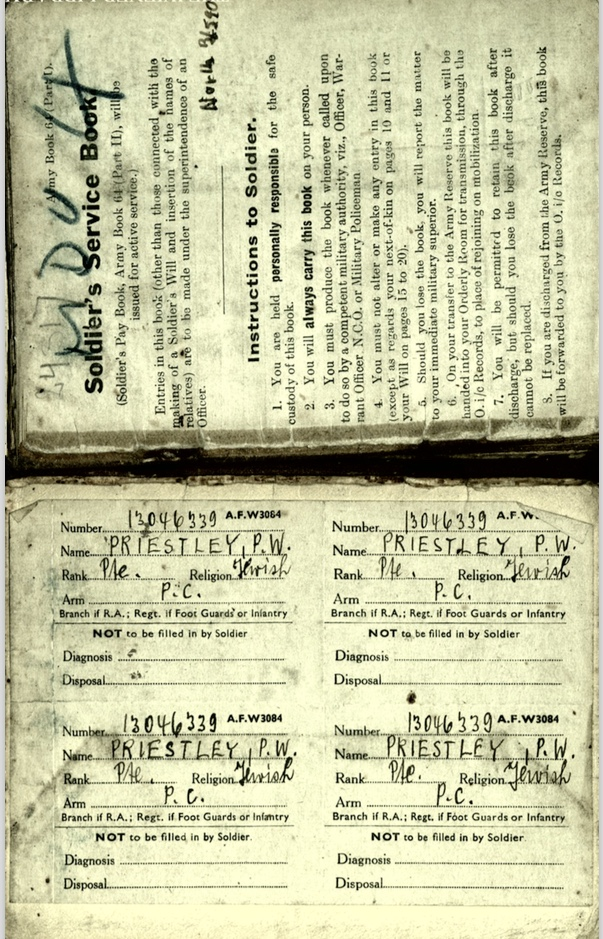 Kitchener camp, Wolfgang Priester, Soldier's Service Book, Pioneer Corps
