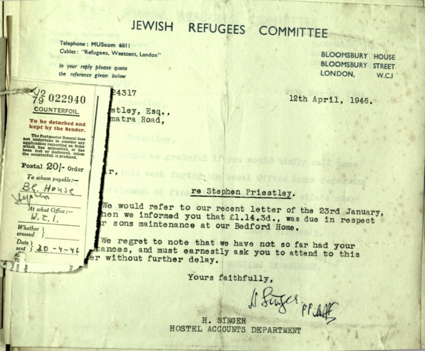 Wolfgang Priester, Jewish Refugees Committee, Letter, 12 April 1946, Maintenance payment due, Bloomsbury House
