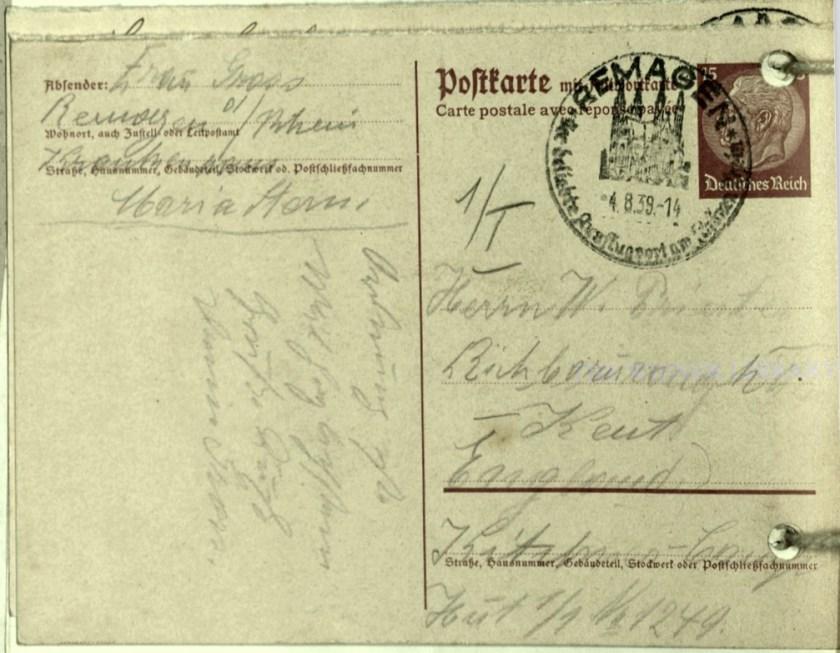 Wolfgang Priester, Kitchener camp, Richborough, Hut 1/I, Number 1249, Postmark Remagen, 4 August 1939, address