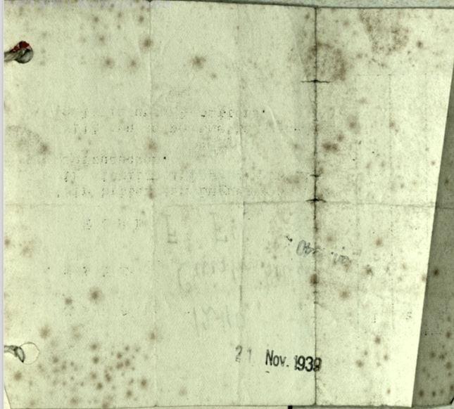 Richborough camp, Wolfgang Priester, 21 November 1939, Luggage store receipt F3, F6, reverse