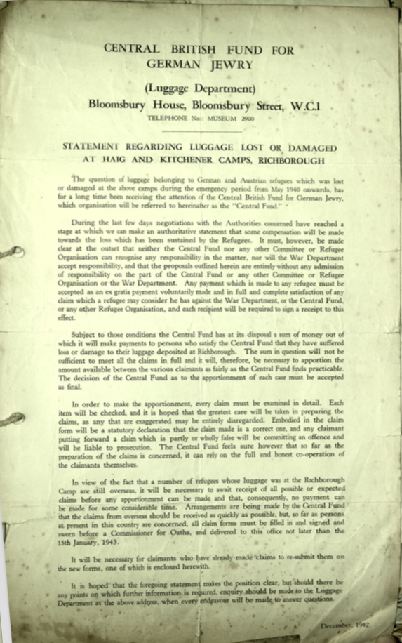 Kitchener camp, Document, Haig camp, Central British Fund for German Jewry, Bloomsbury House, Lost, damaged luggage, December 1942
