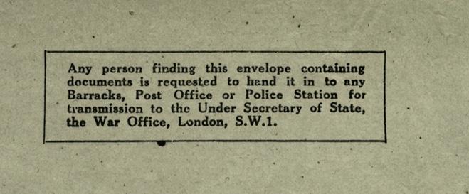 Wolfgang Priester, Envelope, wartime postal restrictions, the War Office