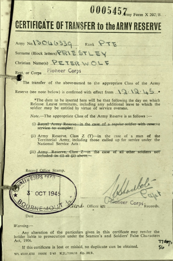 Wolfgang Priester, Transfer to Army Reserve, 12 December 1945