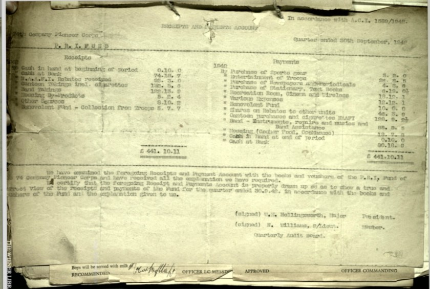 Wolfgang Priester, Pioneer Corps, 74th Coy, Receipts and accounts, Major W M Hollingsworth, Quarterly Audit Board