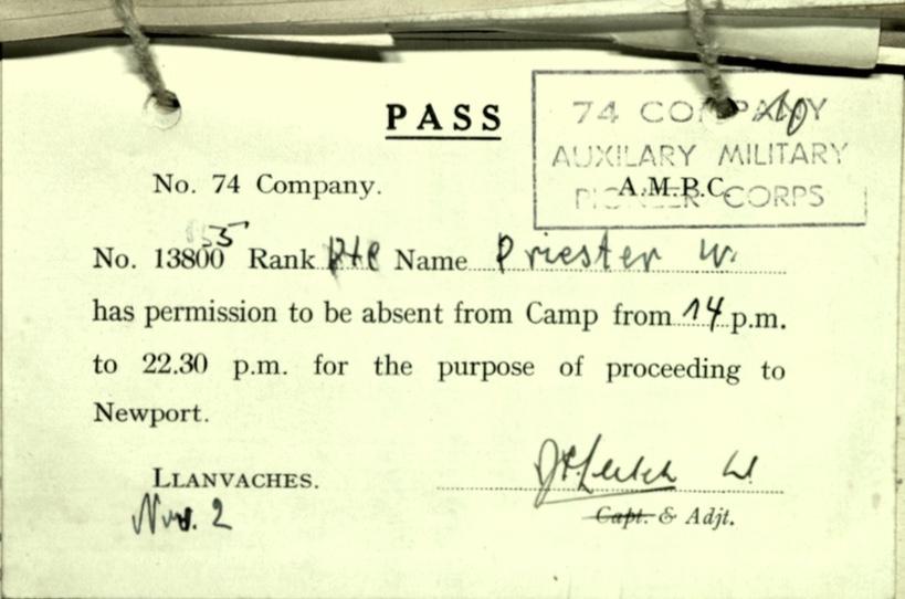 Wolfgang Priester, AMPC, 74 Company, Pass, 2 November