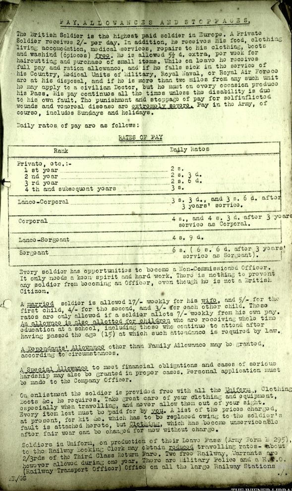 Kitchener camp, Pioneer Corps, Wolfgang Priester, Pay allowances and stoppages, page 1