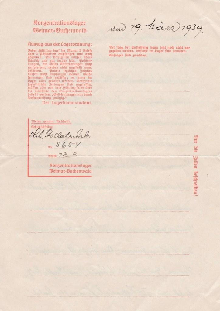Kitchener camp, Adolf Pollatschek, Letter, Buchenwald 19 March 1939, last letter my grandfather sent my aunt in Vienna on Buchenwald paper on the 19th March 1939, Sent just before release, page 1