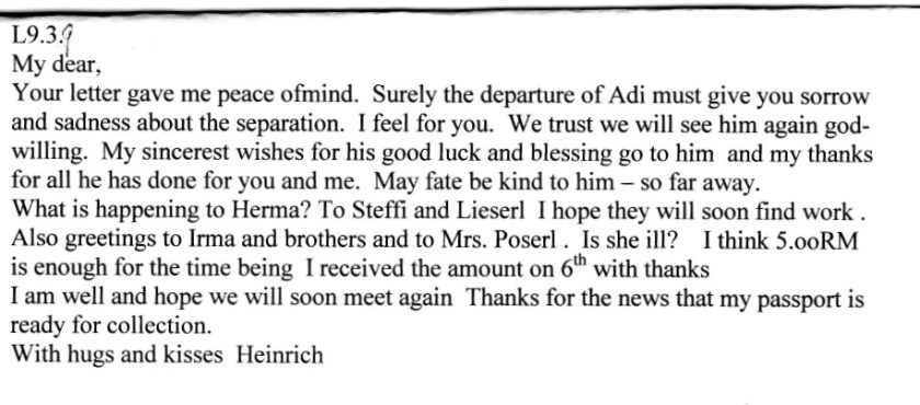 Kitchener camp, Adolf Kitchener camp, Adolf Pollatschek, Letter, Buchenwald 19 March 1939, last letter my grandfather sent my aunt in Vienna on Buchenwald paper on the 19th March 1939, Sent just before release, translation