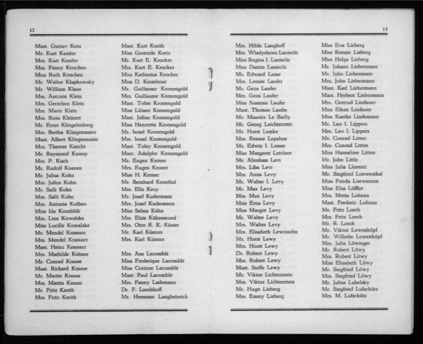 Kitchener camp, Werner Gembicki, Document, List of Passengers from Rotterdam to New York, 22 November 1939, pages 12 to 13