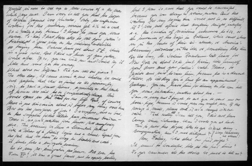 """Kitchener camp, Werner Gembicki, Letter, Hopes of regular payment have been frustrated - only for craftsmen working for the military, Can sell item of wife's father for a good price to military, Asking about job prospects in USA, This evening a festival with a show and concert, Enjoyable if wrapped in blankets and coats, Emigration details, Possible invasion of the Nazis in Holland, """"which could place us in the centre of their air attacks, or America becoming involved in the war or something like this"""", Julius Rosenbaum leaving for New York on 20th, Did not leave camp since Saturday, 13 December 1939, pages 2 and 3"""