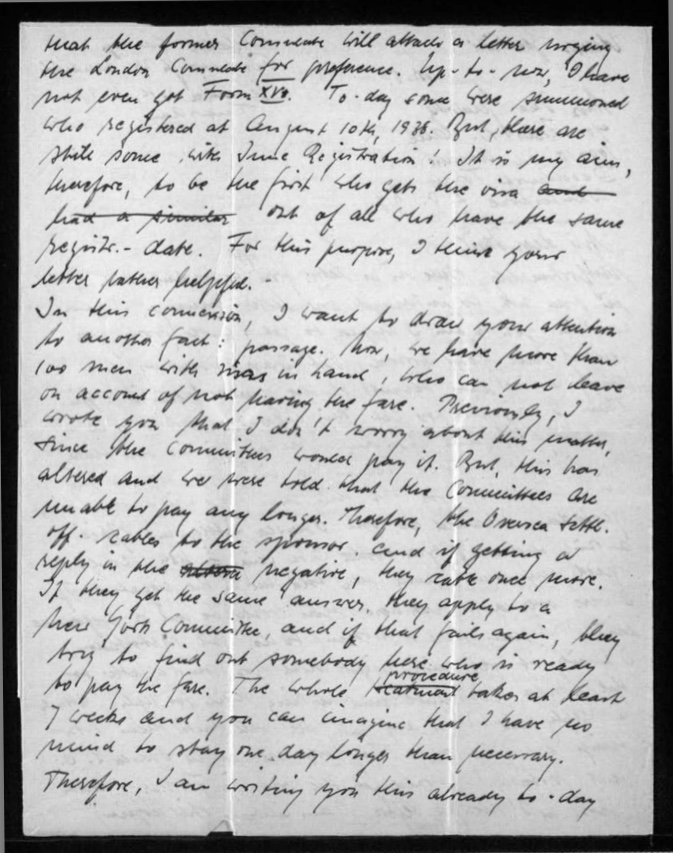 Richborough refugee camp, Werner Gembicki, Letter, News about passage to USA, 30 November 1939, page 2