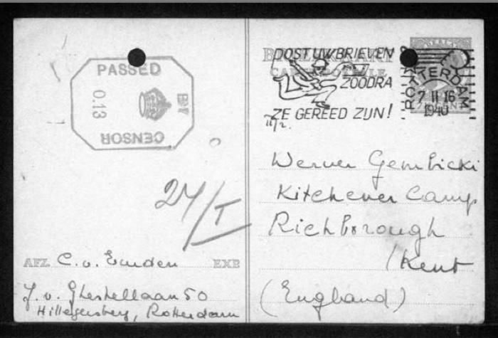 Werner Gembicki, Richborough transmigrant, Hut 27/I, Postcard, 6 November 1940, address