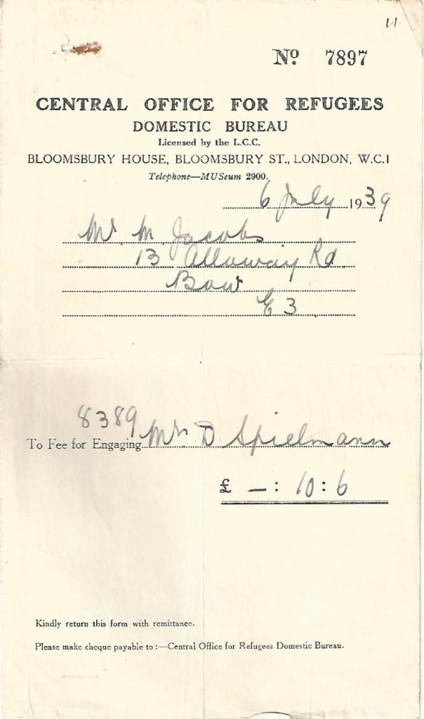 Kitchener camp, Manele Spielmann, Document, Central Office for Refugees, Domestic Bureau, Bloomsbury House, 6 July 1939