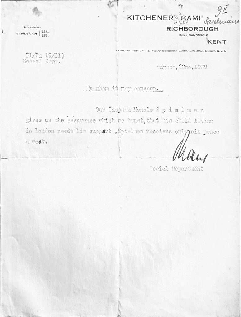 Kitchener camp, Manele Spielmann, Letter, Child in need of support, Only receiving 6 pence per week, 22 August 1939