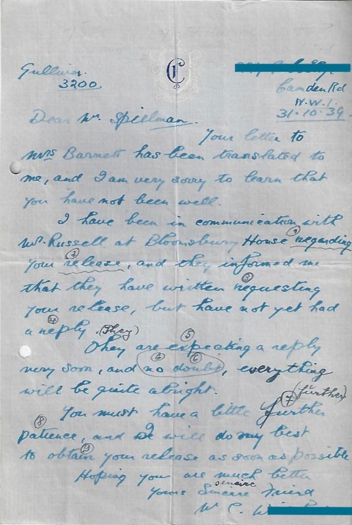 Kitchener camp, Manele Spielmann, Letter, Attempting to secure release from camp, 31 October 1939