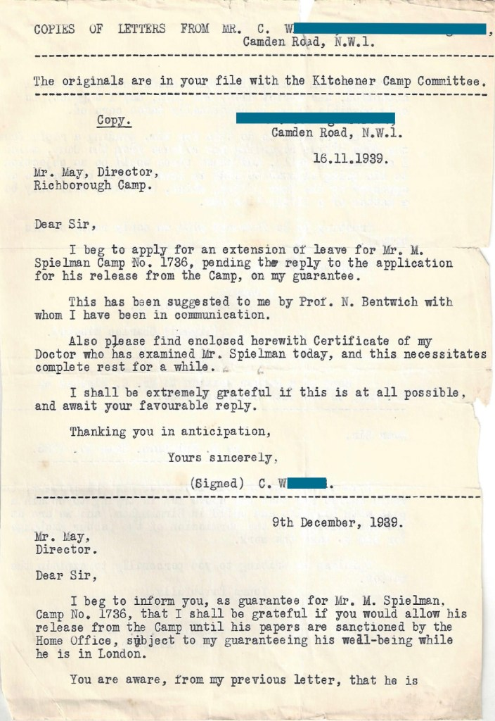 Kitchener camp, Manele Spielmann, Letter, Mr May, Camp Director, Applicaiton for extension of leave on guarantee, Professor Norman Bentwich, Medical certificate, 16 November 1939, page 1