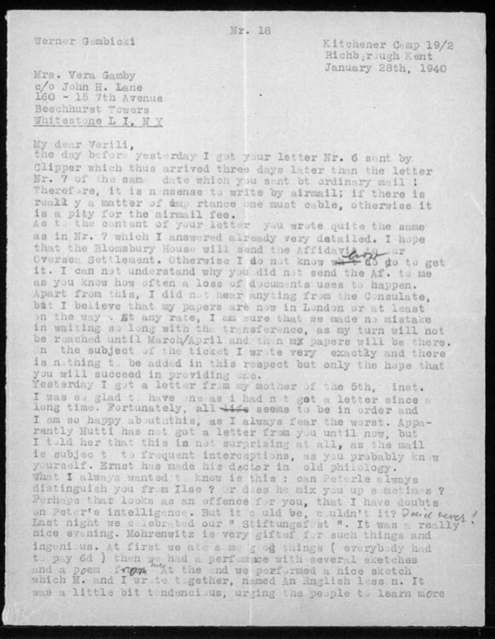 """Kitchener camp, Werner Gembicki, Letter, Bloomsbury House affidavit, Mail from Germany subject to interceptions, """"Last night we celebrated our 'Stiftungsfest'. It was a really nice evening, Mohrenwitz is very gifted"""", Food 6d and a performance with sketches and a poem, Sketch urging people to learn English, 28 January 1940, page 1"""