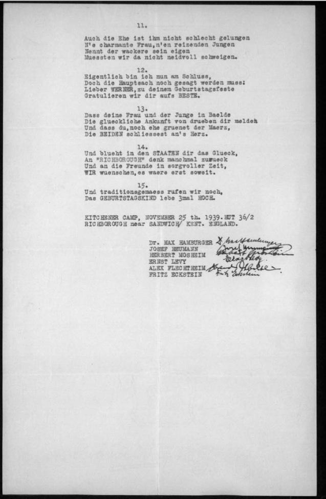 Werner Gembicki, Kitchener camp, Hut 36/II, Max Hamburger, Joseph Heumann, Herbert Mosheim, Ernst Levy, Alex Flechtheim, Fritz Eckstein, 25 November 1939, page 2
