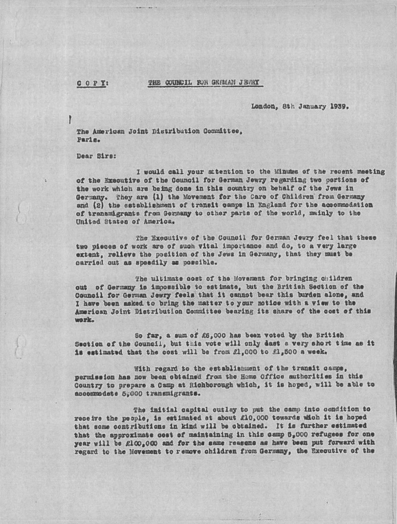 Kitchener camp, The JDC, Council for German Jewry, Letter, Movement for the Care of Children from Germany, Transmigrants, USA, Permission obtained from Home Office for camp for 5,000, Costs, 8 January 1939, page 1