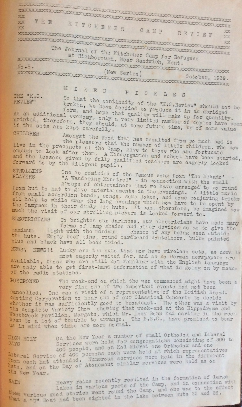 Kitchener Camp Review, October 1939, page 1