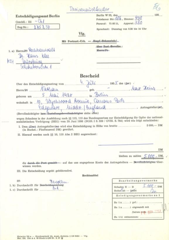 Kitchener camp, Max Heinz Nathan, Restitution claim, 18 September 1957