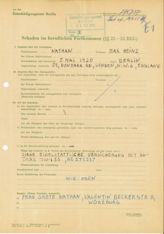 Kitchener camp, Max Heinz Nathan, Restitution claim, 13 September 1955