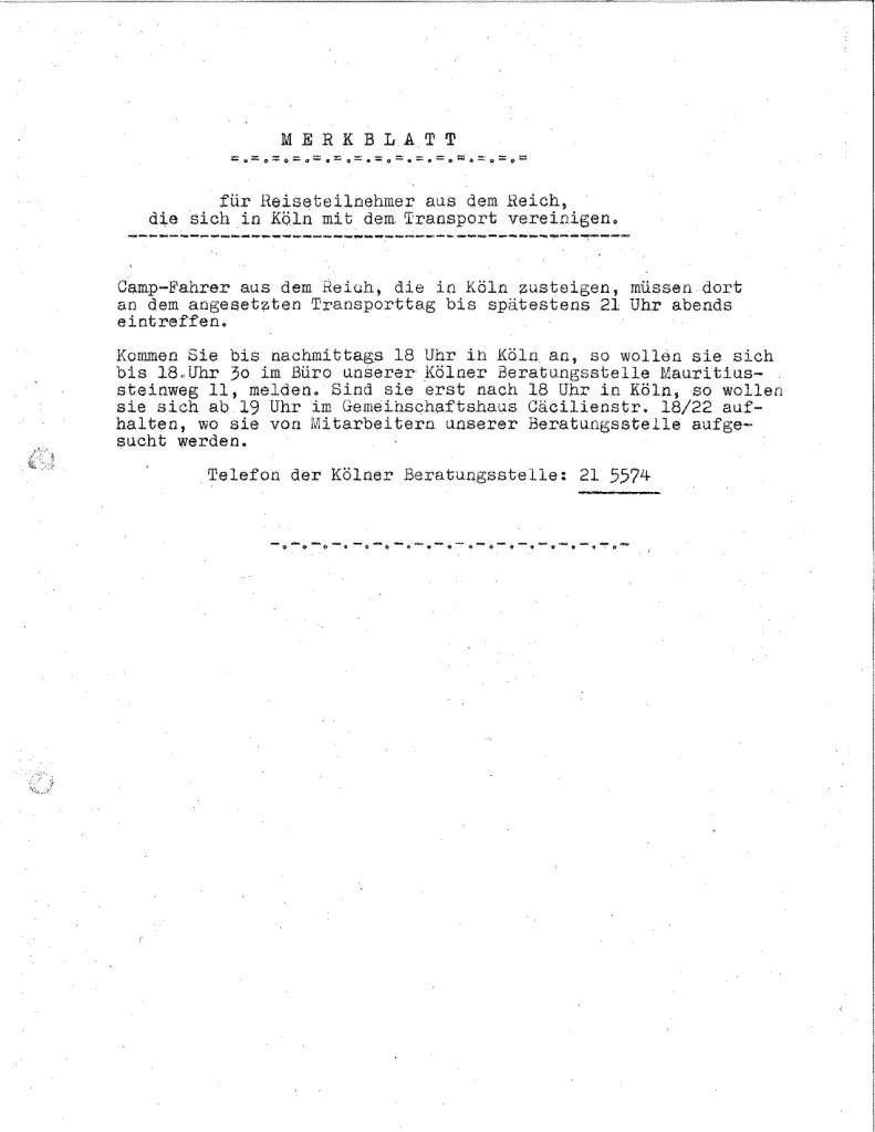 Richborough transmigration camp, Josef Frank, Merkblatt, leaflet, factsheet for travelers from the Reich