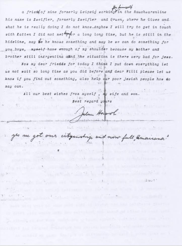 Kitchener camp, Willi Reissner, Joachim Reissner, Letter, New York, 25 December 1945, Postwar, Rebuilding, page 2