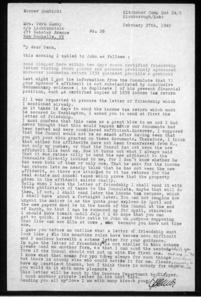 Richborough camp, Werner Gembicki, Letter, Paperwork for emigration incorrect, Matter is urgent because the quota year expires in April, Letter of Friendship, In the meantime rules have become more difficult, 27 February 1940