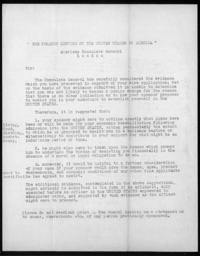 Richborough camp, Werner Gembicki, Letter, From Foreign Service of the USA, American Consulate General, London, Evidence for Visa application insufficient
